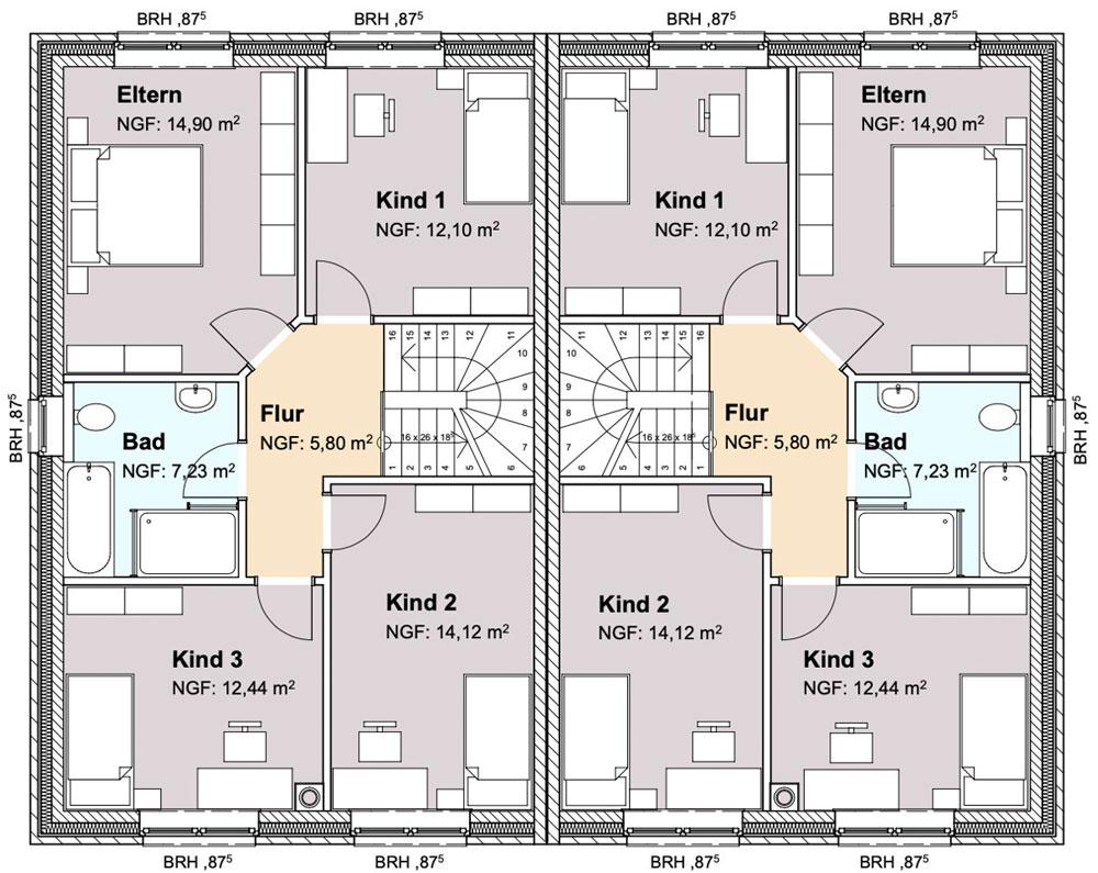 Grundriss Dachgeschoss Neubau einer Doppelhaushälfte in attraktiver Wohnlage