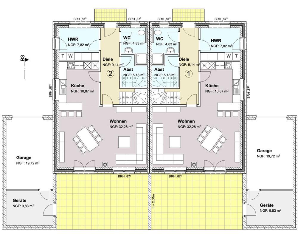 Grundriss Erdgeschoss Neubau einer Doppelhaushälfte in attraktiver Wohnlage