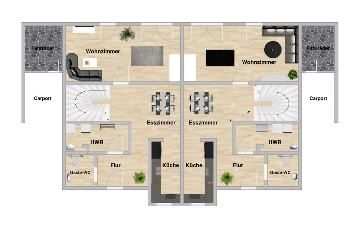 Schöne Doppelhaushälfte mit KfW 55-Förderung in ruhiger Lage von Vechta | Grundriss Erdgeschoss