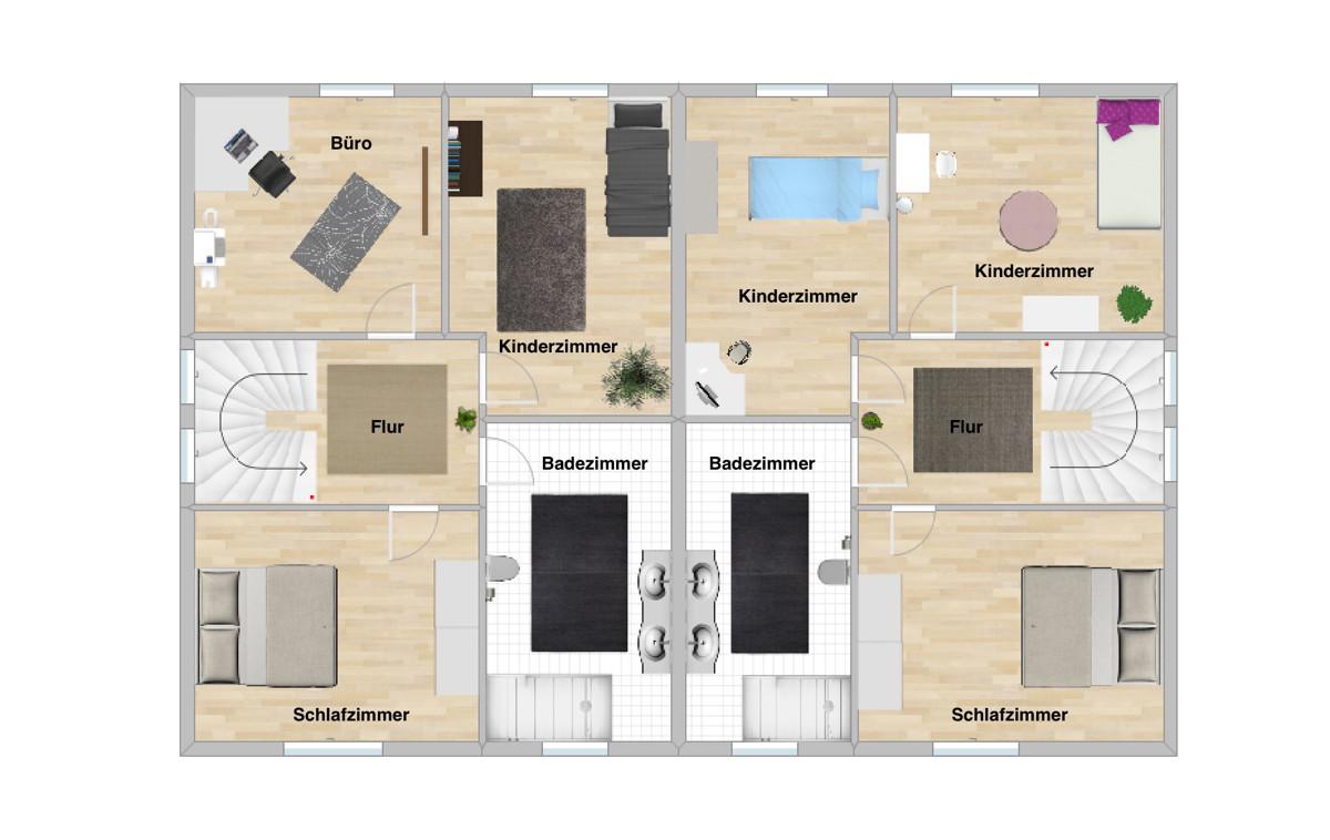 Schöne Doppelhaushälfte mit KfW 55-Förderung in ruhiger Lage von Vechta | Grundriss Obergeschoss
