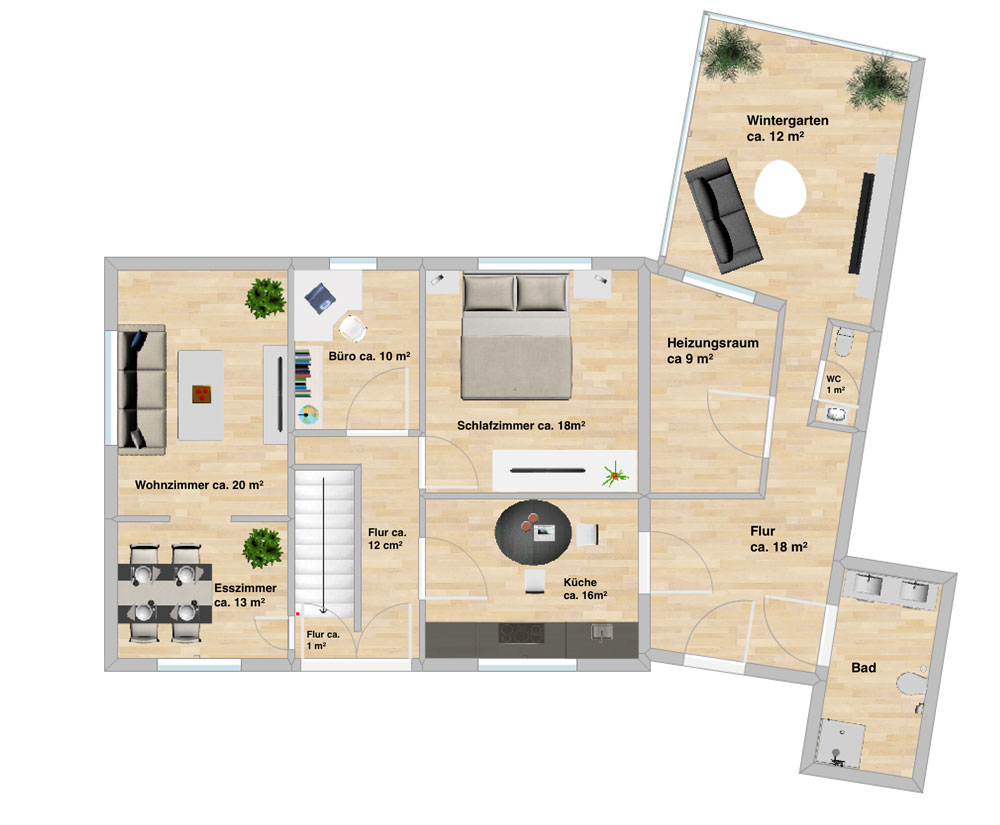 Zweifamilien Resthof im Außenbereich von Goldenstedt | Grundriss Etage